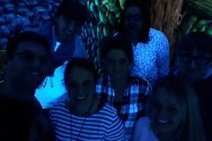 Blacklight Minigolf 2017 (ltr): Christian, Corina, Karoline, Nora, Zakia, Luisa, Tino